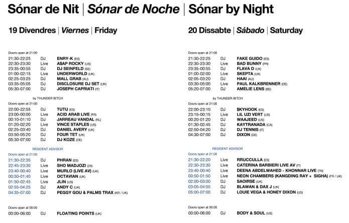 Horarios del Sónar 2019 - Noche